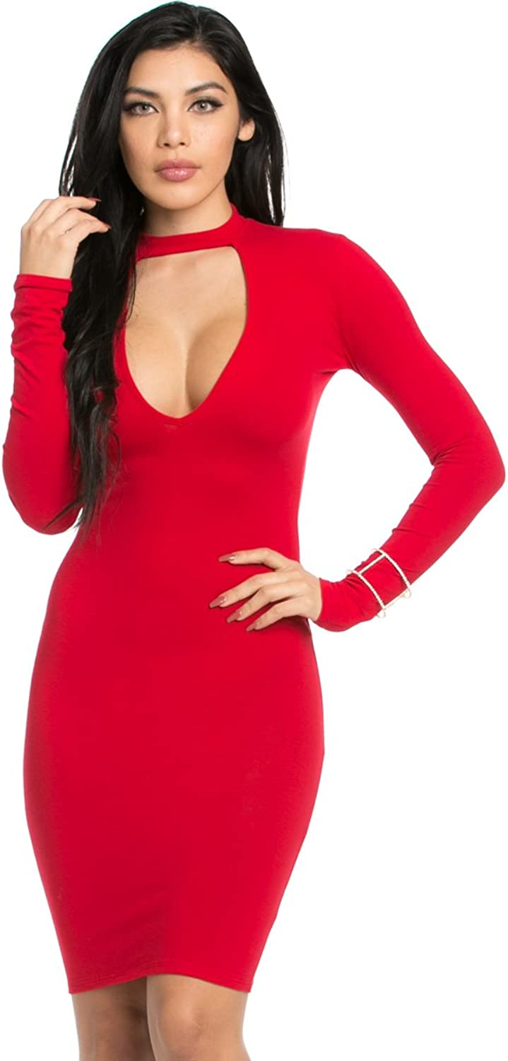 My Yuccie Women's Zip Up Back Choker Mini Dresses Available in Plus Size