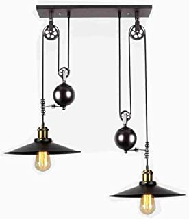 E27 Vintage Iron Pulley Chandeliers, Industrial Retractable Ceiling Lights Antique Pulley Rise and Fall Light Fitting for Kitchen Island Dining Room Bar Loft Hallway