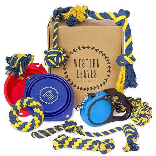 Western Leaves 10-Teiliges Hunde Starterset - Hundespielzeug Unzerstörbar aus Baumwolle, Faltbarer Hundenapf und Gurt-Rollleine 5m für Kleine und Mittelgroße Hunde