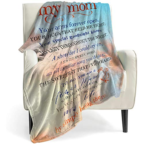 My Mom Blanket -Loved Gifts for Mom from Son or Daughter, Super Soft Comfort Love Words Throw Blankets for Couch Living Room Bedroom -50x60 Inch Cozy Blankets and Throws for Women & Mom Gifts