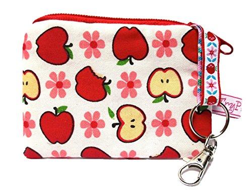 TryPinky Estuche para llaves con diseño de manzanas rojas y manzanas rojas, regalo para mujer, bonito estuche para llaves, color verde claro y flores