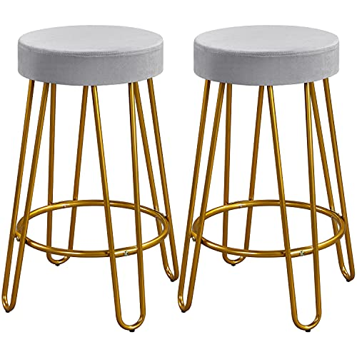 Yaheetech Round Kitchen Counter Stool Home Bar Height Stools with Golden Hairpin Legs Upholstered Velvet Seat for Kitchen/Dining Room/Living Room Set of 2, Gray