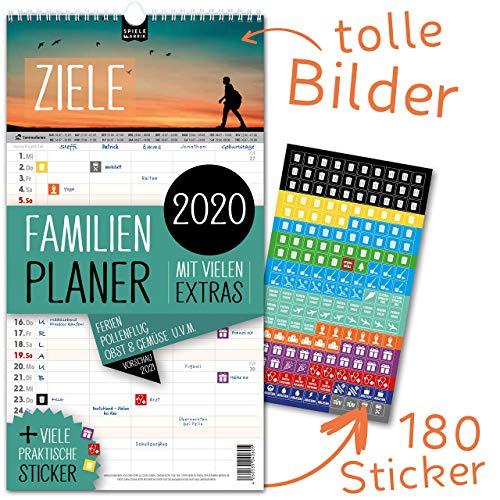 Familienplaner 2020 – ZIELE | 5 Spalten | Wandkalender: 23x43cm | Familienkalender Extras: 180 praktische Sticker, Ferien 2020/21, Pollen-, Obst- & Gemüse-, Jahreskalender, Vorschau bis März 2021