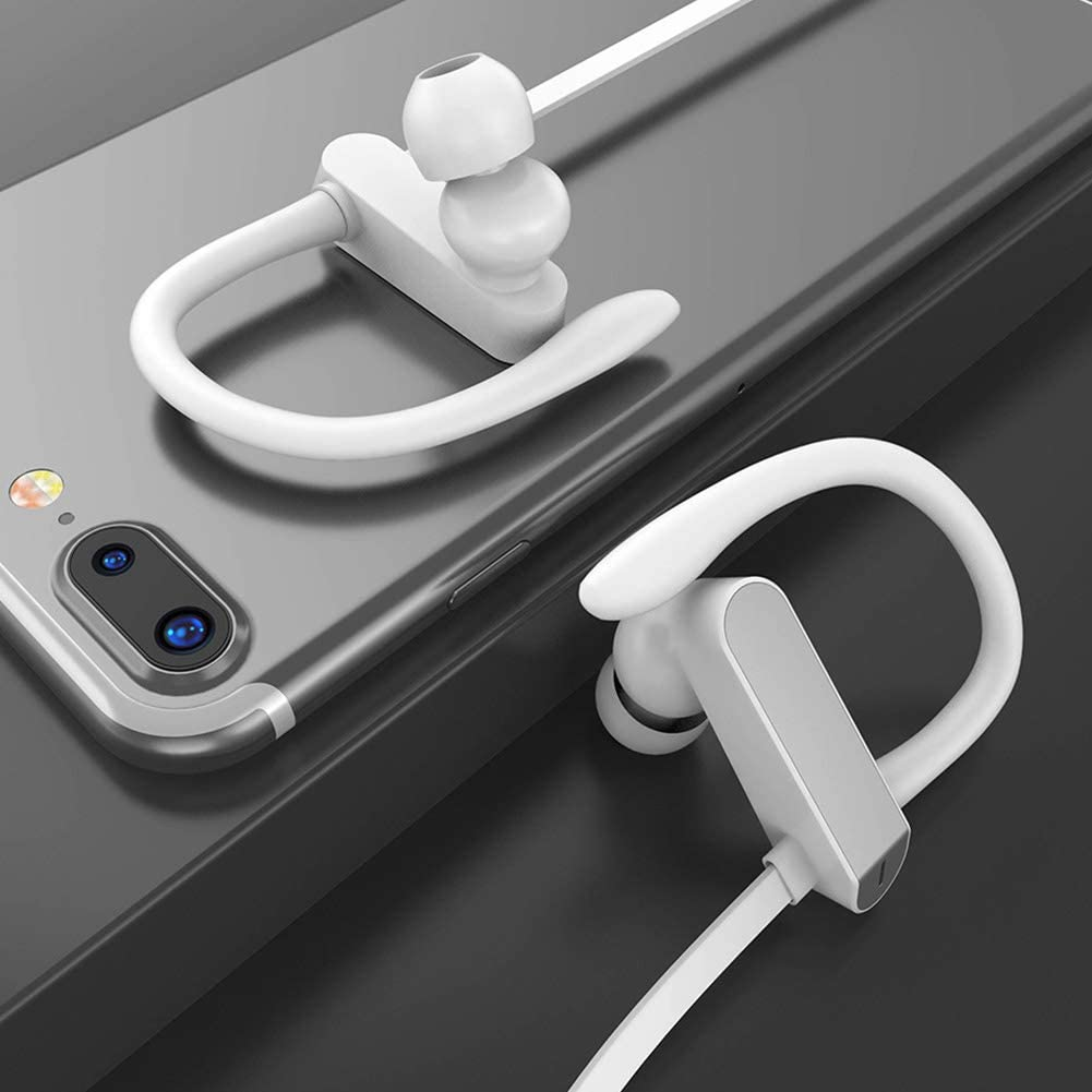 Atrumly Earhook Earphone Sound 1.2m TPE Cable Sport Headphone with MIC for Smart Phone Headset Silver