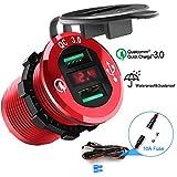 Rocketek Enchufe de Cargador USB Quick Charge 3.0, Toma de Corriente Doble para automóvil Adaptador de Agua 36W Carga rápida con voltímetro LED para 12V / 24V Barco Motocicleta ATV Autobús Camión SUV