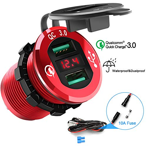 Dual QC3.0 USB Car Charger, Opluz Quickly Charge 4.8A USB Car Socket x2&Waterproof Power Outlet with LED Voltmeter for 12V/24V Car, Boat, Marine, RV, Motorcycle Mobile Build-in 10A Fuse DIY Car Kit