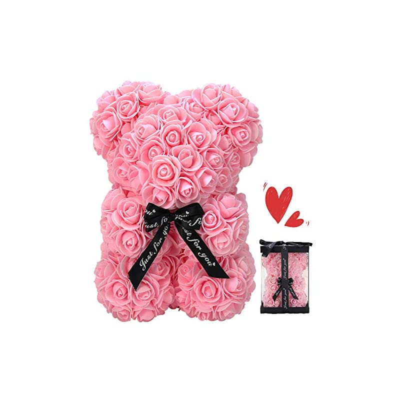 silk flower arrangements zfdeby rose flower bear-hand made teddy bear,best artificial decoration gifts for mothers day, valentines day,bridal,weddings,the perfect party clear gift box (04-pink)