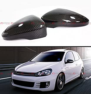 Cuztom Tuning 1:1 Direct Replacement Real Carbon Fiber Side Mirror Cover Fits for 2010-2014 Golf 6 Mk6 GTI R VI