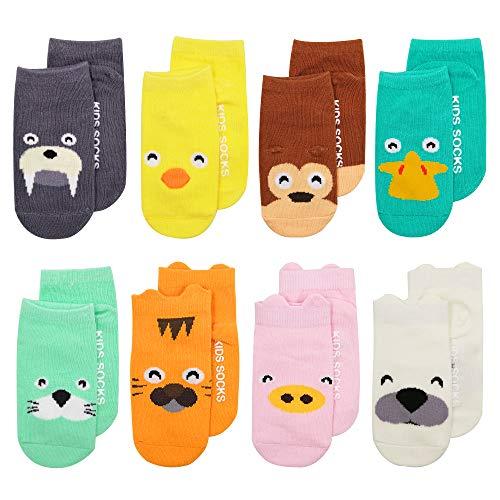 ASBYFR Baby Socken mit Griffen Non Slip Skid Kleinkind für Jungen Mädchen, 8 Paar pro Pack (0-12 Monate)
