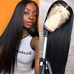 Human Hair Lace Front wigs Material: 100% unprocessed virgin Brazilian straight human hair wigs for women with baby hair, pre plucked natural hairline,1-3days fast shiping Lace size: 13x4 inch lace on the top, soft ,Invisible, Soft, Breathable &comfo...