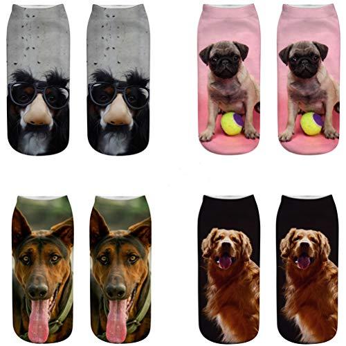 Kfnire 4 Paar süße Hunde 3D-bedruckte Socken Dame Socken Mädchen Socken Lässige Socken (A)