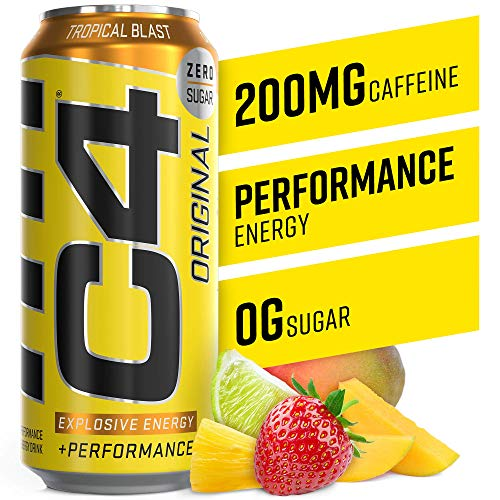 C4 Original Sugar Free Sparkling Energy Drink Tropical Blast | Pre Workout Performance Drink with No Artificial Colors or Dyes | 16oz (Pack of 12)