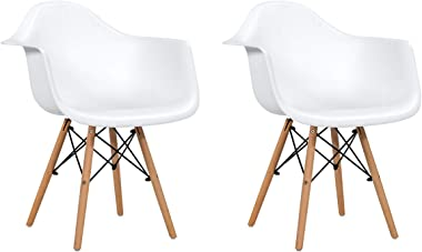 Giantex Set of 2 Modern Dining Chairs w/Natural Wood Legs, Easily Assemble Mid Century DSW Molded Plastic Shell Arm Chair for