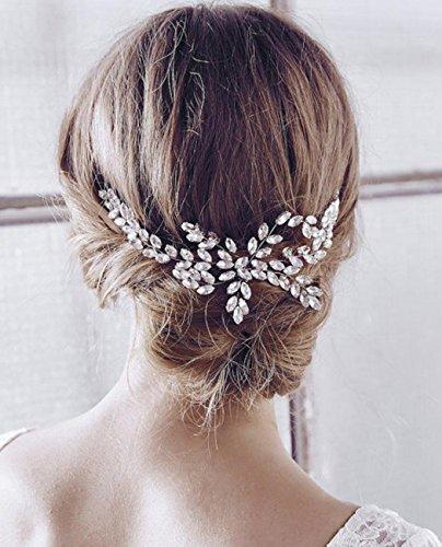 Aukmla Haarschmuck zur Hochzeit, silberfarbener Kamm mit Strasssteinen