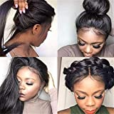 360 Lace Front Straight Human Hair Wigs, Peruvian Pre Plucked Lace Wig Glueless Human Hair Wigs 150% Density with Baby Hair for Black Women(20 Inch)