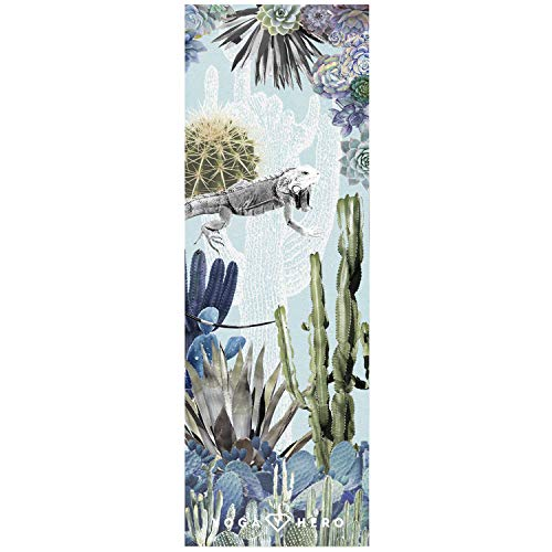 Yoga Hero | The Combo Yoga Mat | 2-in-1 Mat+Towel | Eco Luxury | Ideal for Hot Yoga, Power, Bikram, Ashtanga, Sweat | Professional | Includes Carrying Strap (Pink Marble)