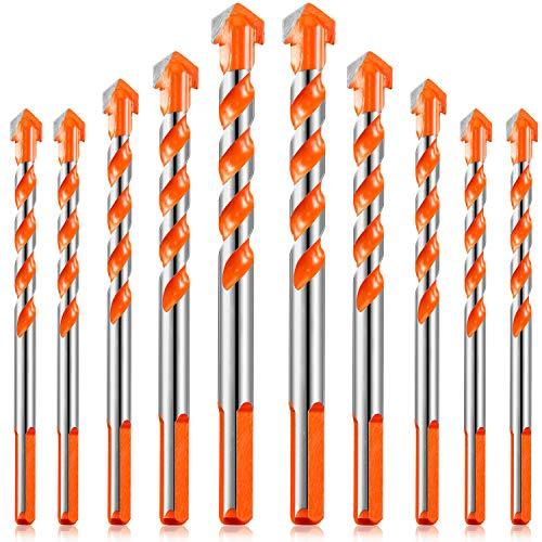 10 Stücke Dreieck Bohrer Set Dreieckiger Griff Multifunktionale Bohrer Stanzbohrer Set mit Hartmetall Spitze für Fliesen Beton Glas Holz, 6/6/8/10/12 mm (Orange)