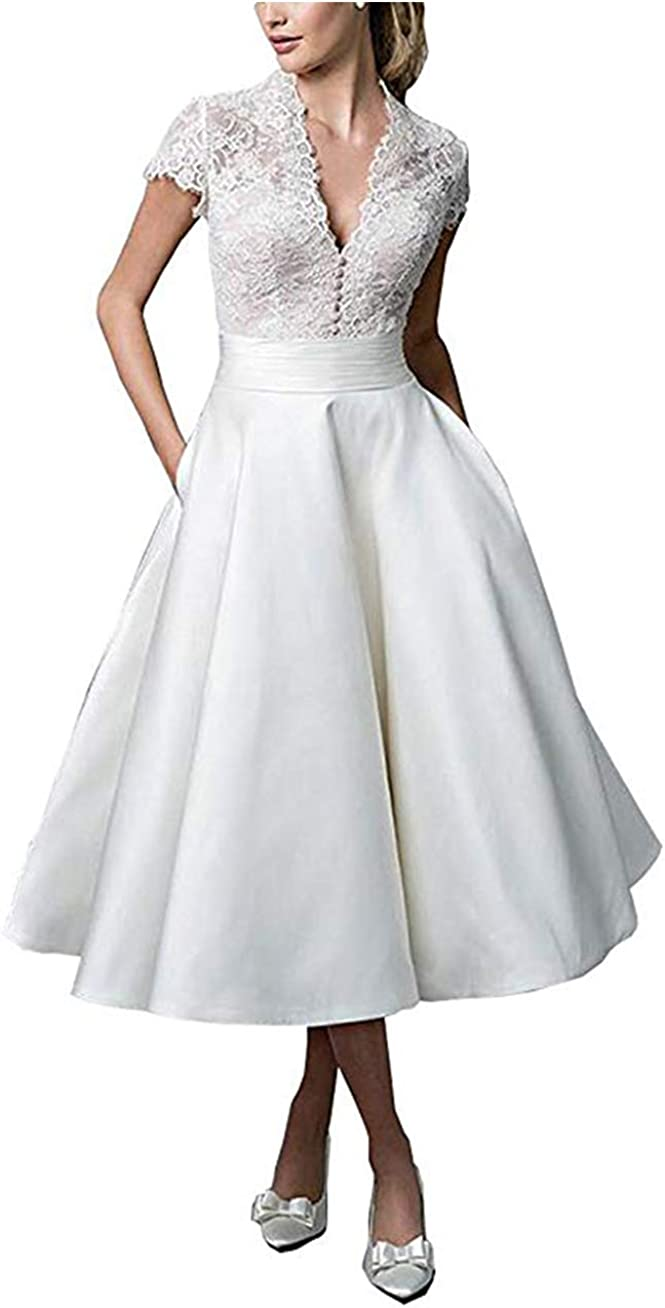 Awishwill Women's Vintage Lace Satin Bridal Gown Tea Length Wedding Dresses with Pockets