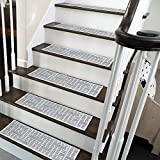SussexHome Hudson Design 9' X 28' Stair Treads - 70% Cotton Anti-Slip Carpet Strips for Indoor Stairs-Easy to Install with Double Adhesive Tape-Safe, Extra-Grip, 13-Pack-Gray