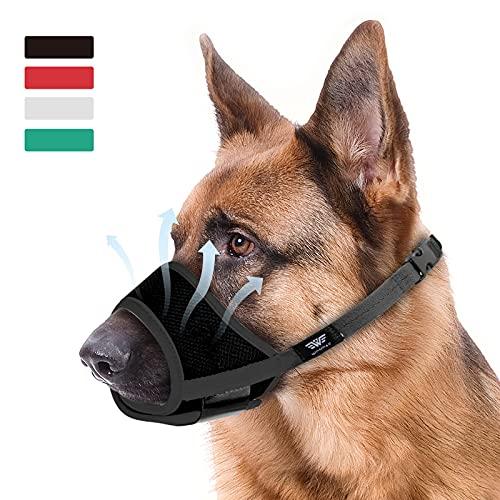WONDAY Dog Muzzle for Large Dog, Dog Muzzles for Biting Barking and Chewing Large Dog Muzzle Nylon Soft Mesh Breathable Adjustable Loop Muzzle Anti-Dropping