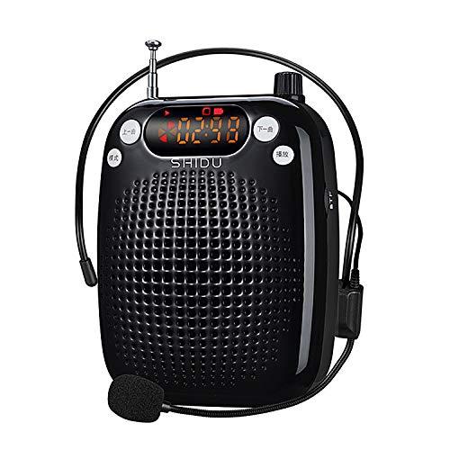 SHIDU Amplificador de voz 10W Sistema de PA portátil recargable con micrófono con cable Auriculares Soporte Reproducción de MP3 para maestros, Yoga, Guías turísticos, Entrenadores