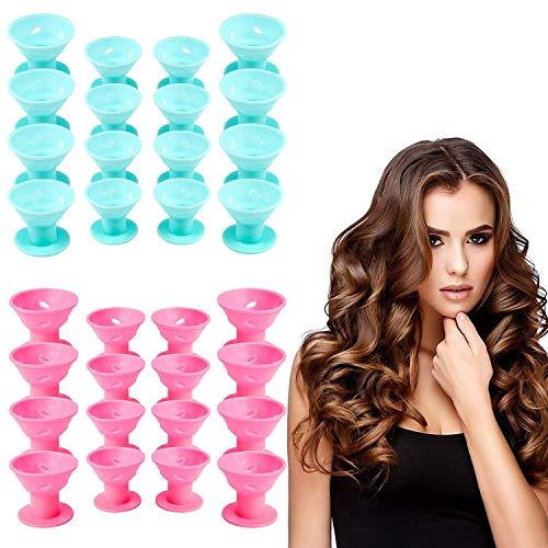 Vordas Welecoco Silikon Lockenwickler,40 Stück Silikon Magic Haarspulen Lockenwicklern Haar Styling Locken Lockenwickler Ohne Hitze(20 Blau+20 Rosa)