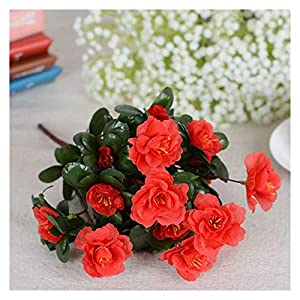 Silk Flower Arrangements Fall Outdoor Artificial Red Azalea Flowers Bushes UV Resistant Fake Flowers Home Decor Small Decorations for Garden (Color : Red)