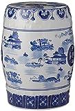 Oriental Furniture 18' Landscape Blue & White Porcelain Garden Stool