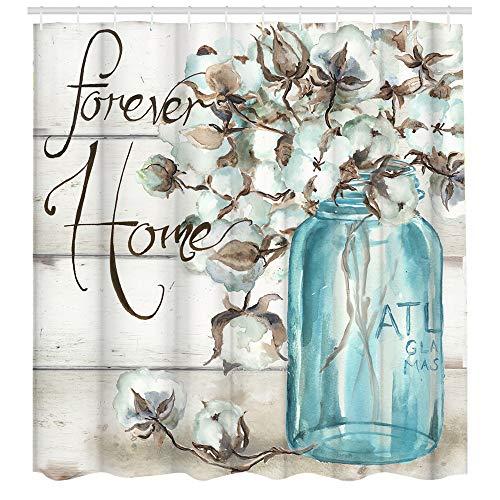 Duschvorhang-Set mit rustikalen Blumen, Bauernhaus-Dekoration, Stoff, wasserdicht, Badezimmer-Duschvorhänge mit 12 Haken, 72 x 72 cm