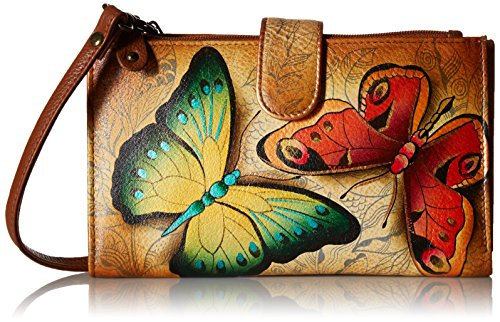 Anuschka Womens Hand Painted Large Smartphone Case & Wallet Earth Song,One Size