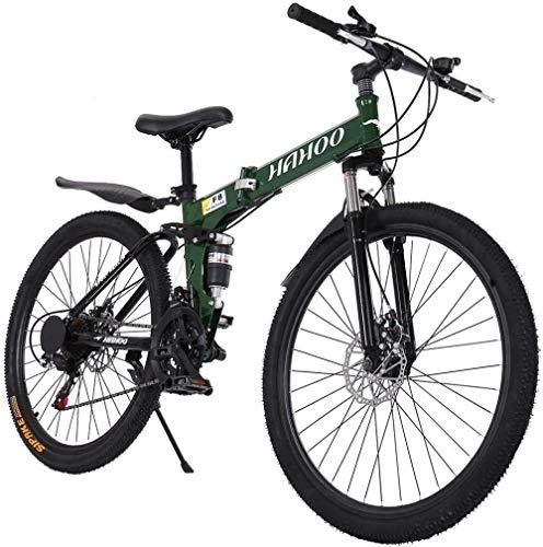 SYCY Bicicleta de montaña con suspensión Completa de 26 Pulgadas Bicicleta de Carretera Bicicleta de cercanías con 21 velocidades Frenos de Disco Doble Bicicleta Plegable Bicicleta Antideslizante