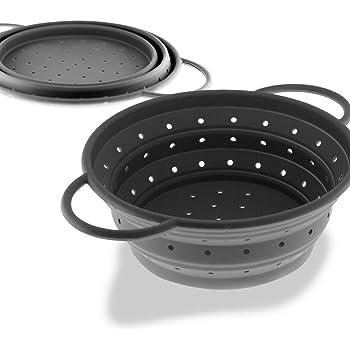 Coolinato® scolapasta pieghevole di silicone, salvaspazio, facile da lavare e adatto per il lavaggio in lavastoviglie, Grau, 24 cm