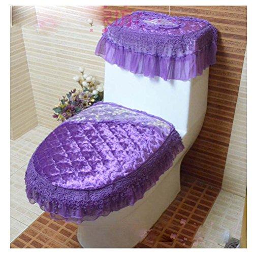 KRWHTS European Style Plush Bathroom Toilet Decor 3-piece Tank Cover Toilet Lid Toilet Seat Cover Set Zippered Lace Style Bathroom Tank Cover purple