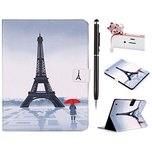 Felfy Ultra Slim Flip Housse Pour  Apple iPad Air 2 iPad 6   Paris Tour Eiffel Fille Red Umbrella Dessin  PU Cuir Cas Coque Protector Covers Case  1x Pink Chat Dust Plug  1x Noir Stylus