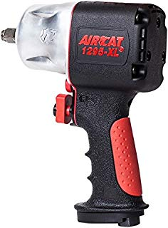 """AIRCAT 1295-XL 1/2"""" Drive Full Power Compact Composite Impact Wrench, Silver/Black"""