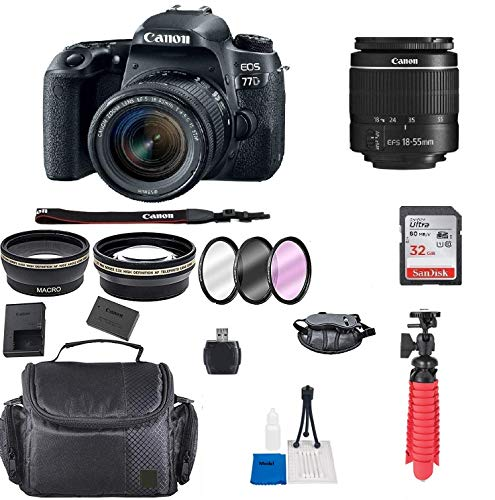 Canon EOS 77D DSLR Camera w/EF-S 18-55mm f/4-5.6 is STM Lens + Accessory Bundle + Model Electronics Cloth