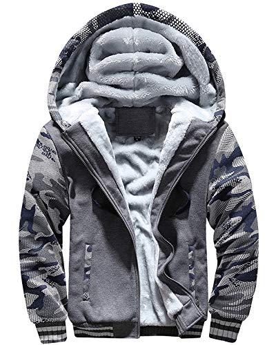 MACHLAB Men's Pullover Winter Workout Fleece Hoodie Jackets Full Zip Wool Warm Thick Coats Dark Gray#63 2XL