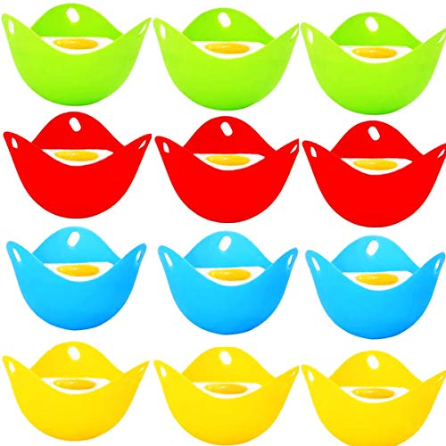 Molde de Silicona para Escalfar Huevos,Biluer 12PCS Recipiente para Huevos Separador de Huevo Moldes de Huevos Molde de Huevo Frito para Usar En El Horno Microondas Lavavajillas Y Congelador