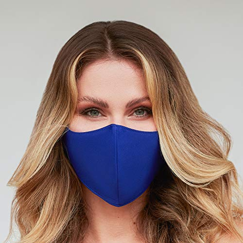Washable Face Mask with Adjustable Ear Loops & Nose Wire - 3 Layers, Made in USA (Solid Royal Blue)
