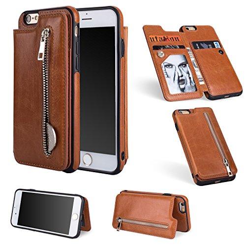 Artfeel Flip Brieftasche Hülle für iPhone 6, iPhone 6S Leder Handyhülle mit Kartenhalter,Retro Reißverschluss Tasche Zurück Abdeckung mit Ständer Magnetverschluss-Braun