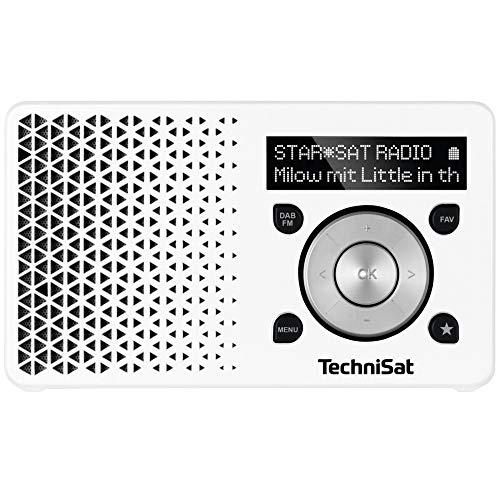TechniSat DIGITRADIO 1 – tragbares DAB+ Radio mit Akku (DAB, UKW, FM, Lautsprecher, Kopfhörer-Anschluss, Favoritenspeicher, OLED-Display, klein, 1 Watt RMS) weiß/silber