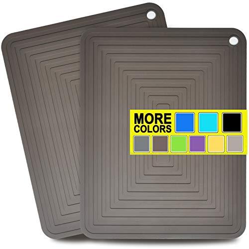Alfombrillas de silicona para platos, soportes de silicona resistentes al calor, almohadillas calientes grandes para mesa de cocina – 30,5 x 22,8 cm para ollas y sartenes Set de 2 (café)