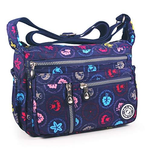AIBILIEI multi-tasca Moda Borsa Messenger Bag, Squisito Donna Viaggio, Escursioni, Shopping uso Quotidiano(4-Fungo blu)