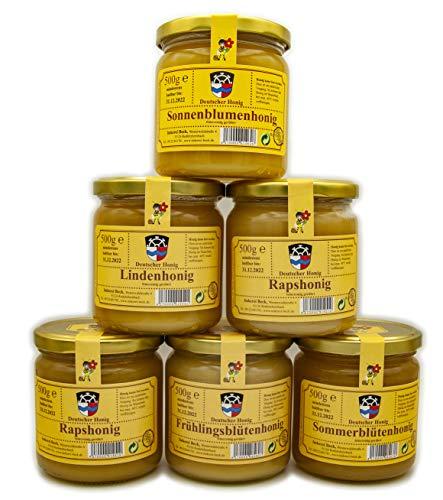 6 x 500g Echter Deutscher Imkerhonig im Probierset (feincremig 3000g) - Honig vom Imker aus Bayern / Sonnenblume / Linde / Rapsblüte / Frühlingsblüte / Sommerblüte / Waldblüte