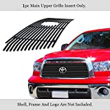 APS Compatible with Toyota Tundra 2010-2013 1 PC with Logo Show Main Upper Stainless Steel Black 8x6 Horizontal Billet Grille Insert T66718J