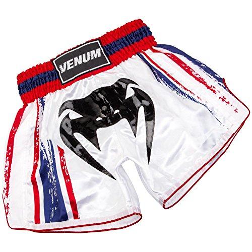 Venum Bangkok Spirit Pantalones Cortos de Muay Thai de Boxeo, Hombre, Blanco, L
