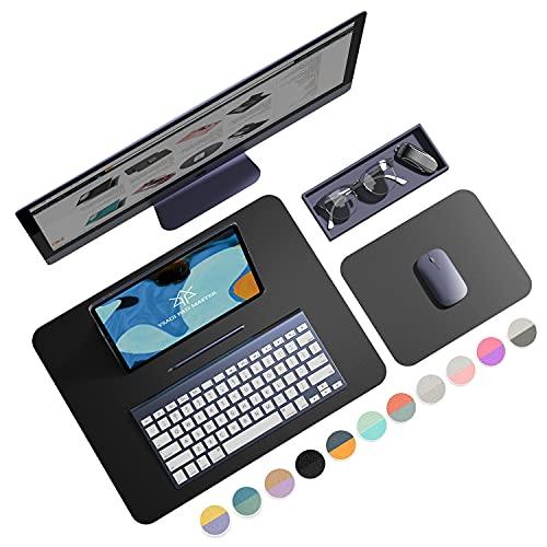YSAGi Doppelseitige Mauspad, Schreibtischunterlage, 2er-Pack Mousepads 45 x 35cm+20 x 25 cm,Schreibunterlage Wasserdicht PU Leder,Schreibtisch auflagen, für PC, Computer und Laptop(Schwarze)