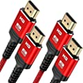 4K HDMI Cable, Highwings High Speed 18Gbps HDMI 2.0 Braided Cord-Support 4K 60Hz HDR,Video 4K 2160p 1080p 3D HDCP Ethernet ARC-Compatible with Fire TV 4K TV Blu-ray PC Monitor Projector-Red by Highwings