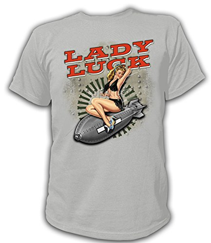 Artdiktat T-Shirt Camiseta para Hombre - Lady Luck Riding Bomb - Pin-Ups Größe S, Grau