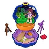 Polly Pocket Mini-Coffret bleu Shani Camping Aventure avec 1 mini-figurine et accessoires téléscope et trousse de secours, jouet enfant, FWN40